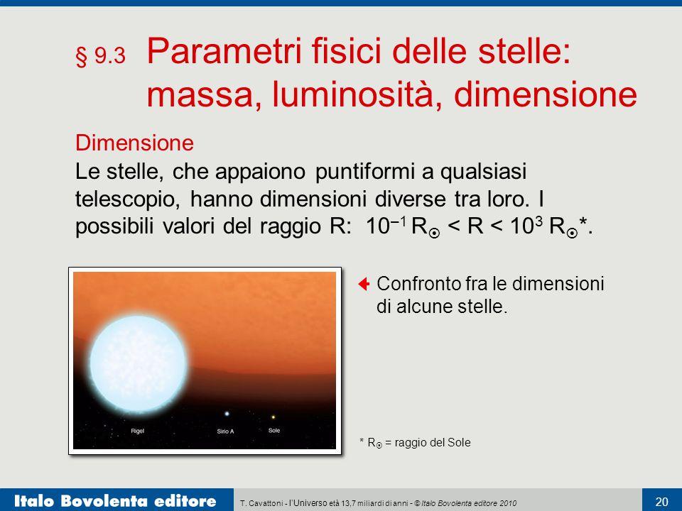 T. Cavattoni - l'Universo età 13,7 miliardi di anni - © Italo Bovolenta editore 2010 20 § 9.3 Parametri fisici delle stelle: massa, luminosità, dimens