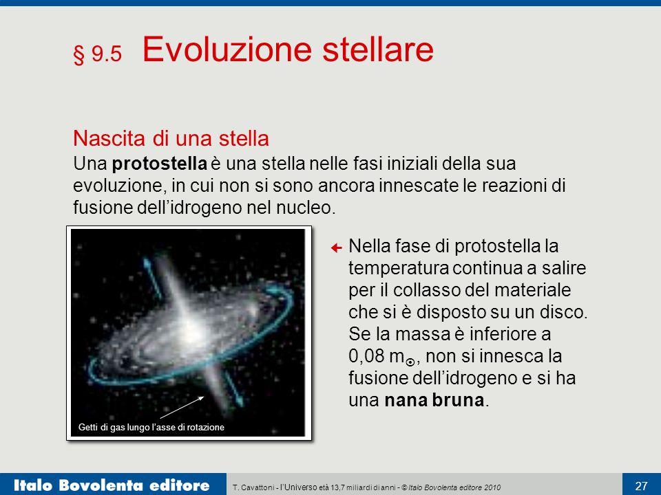 T. Cavattoni - l'Universo età 13,7 miliardi di anni - © Italo Bovolenta editore 2010 27 § 9.5 Evoluzione stellare Nascita di una stella Una protostell