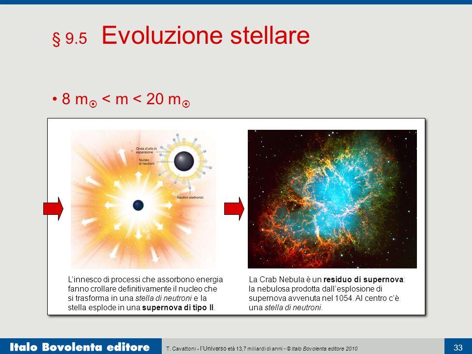 T. Cavattoni - l'Universo età 13,7 miliardi di anni - © Italo Bovolenta editore 2010 33 § 9.5 Evoluzione stellare 8 m  < m < 20 m  L'innesco di proc