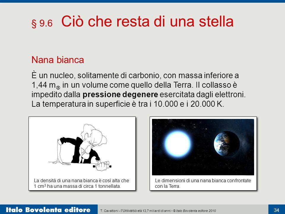 T. Cavattoni - l'Universo età 13,7 miliardi di anni - © Italo Bovolenta editore 2010 34 § 9.6 Ciò che resta di una stella Nana bianca È un nucleo, sol