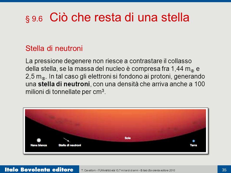 T. Cavattoni - l'Universo età 13,7 miliardi di anni - © Italo Bovolenta editore 2010 35 § 9.6 Ciò che resta di una stella Stella di neutroni La pressi