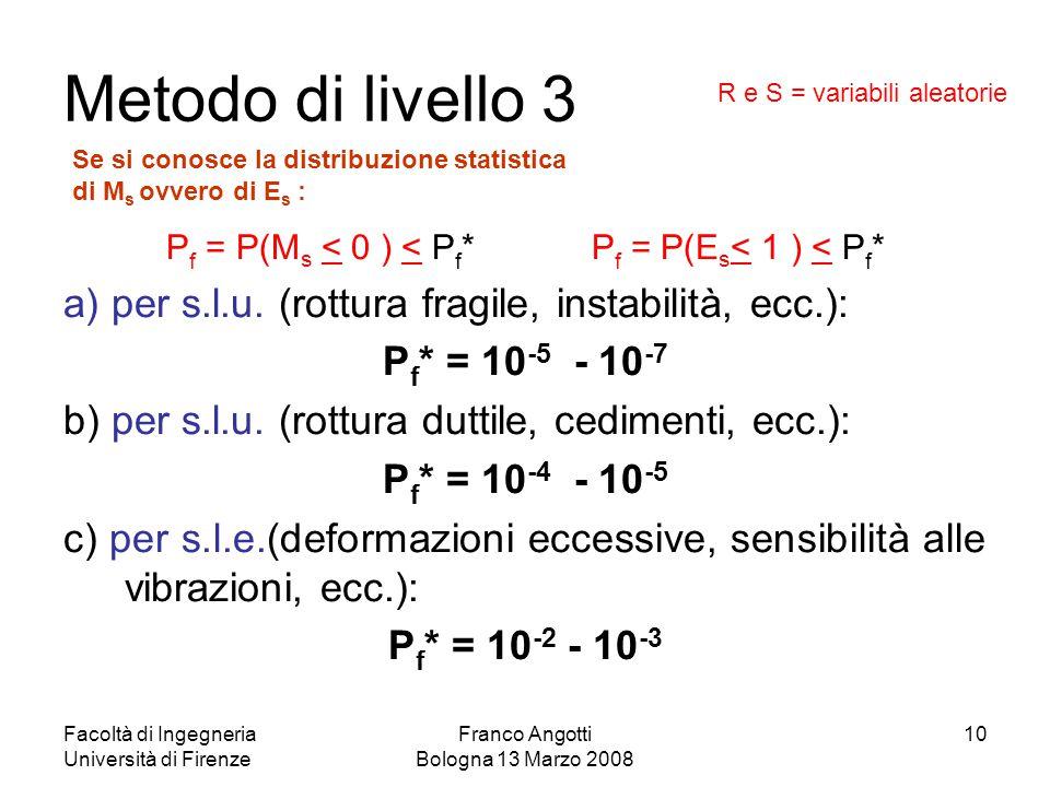 Facoltà di Ingegneria Università di Firenze Franco Angotti Bologna 13 Marzo 2008 10 Metodo di livello 3 P f = P(M s < 0 ) < P f * P f = P(E s < 1 ) <