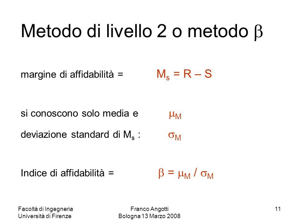 Facoltà di Ingegneria Università di Firenze Franco Angotti Bologna 13 Marzo 2008 11 Metodo di livello 2 o metodo  margine di affidabilità = M s = R –