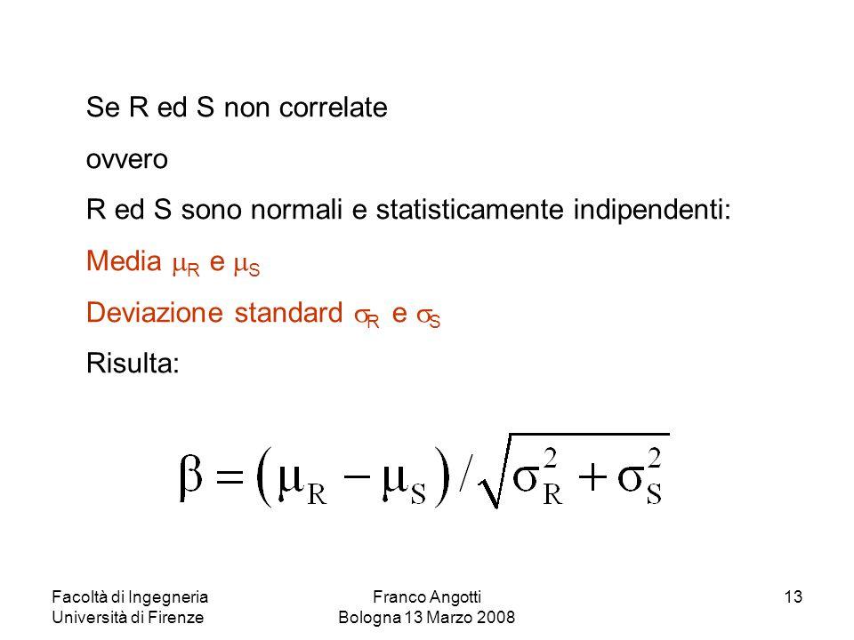 Facoltà di Ingegneria Università di Firenze Franco Angotti Bologna 13 Marzo 2008 13 Se R ed S non correlate ovvero R ed S sono normali e statisticamen