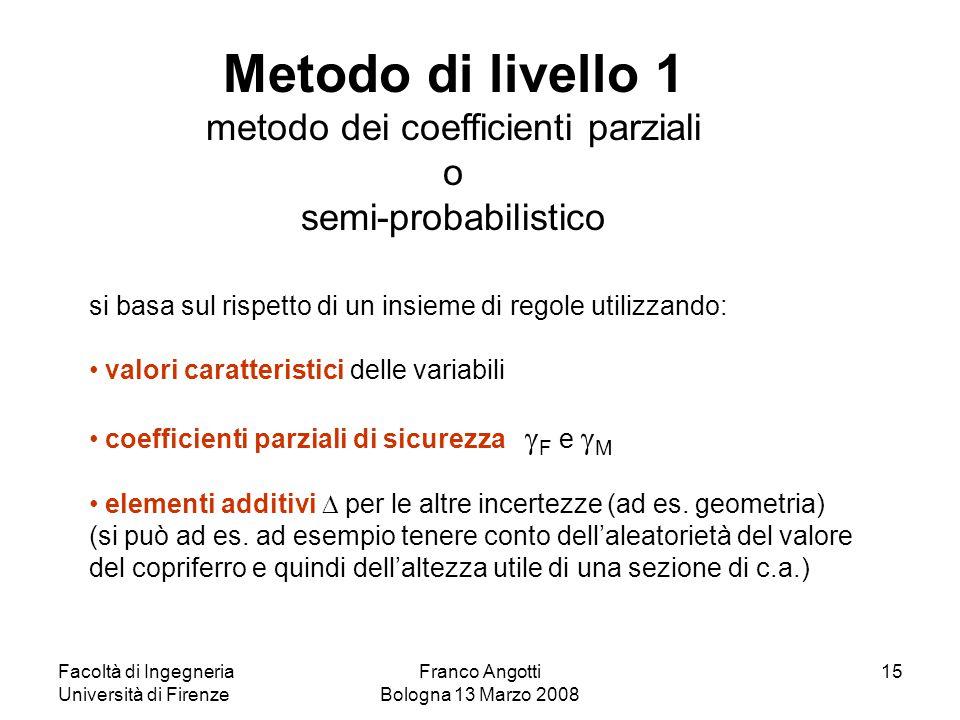 Facoltà di Ingegneria Università di Firenze Franco Angotti Bologna 13 Marzo 2008 15 si basa sul rispetto di un insieme di regole utilizzando: valori c