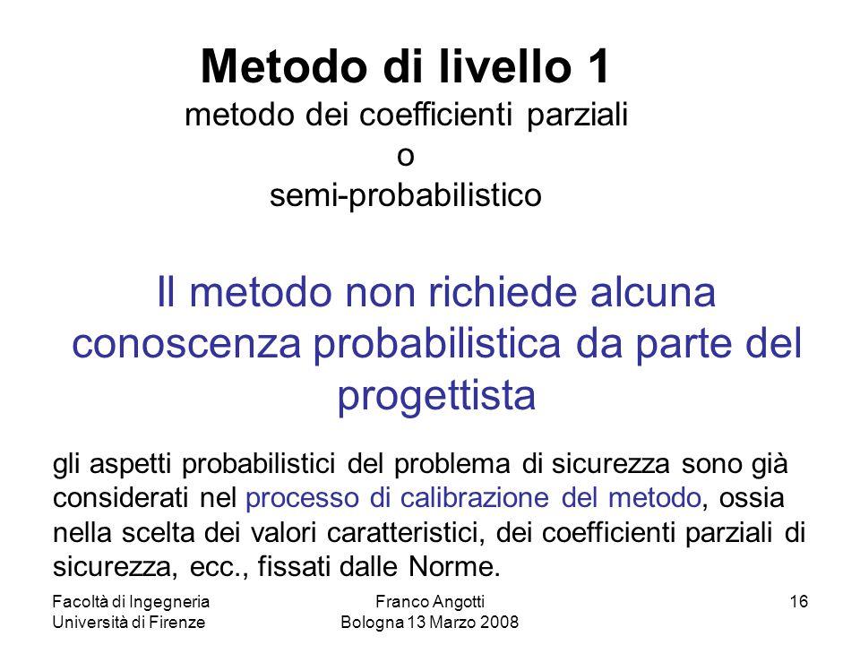 Facoltà di Ingegneria Università di Firenze Franco Angotti Bologna 13 Marzo 2008 16 Il metodo non richiede alcuna conoscenza probabilistica da parte d