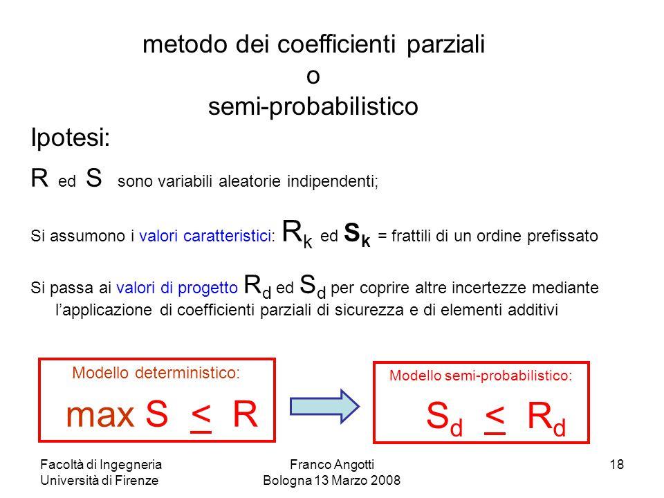 Facoltà di Ingegneria Università di Firenze Franco Angotti Bologna 13 Marzo 2008 18 R ed S sono variabili aleatorie indipendenti; Si assumono i valori