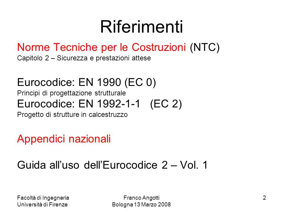 Facoltà di Ingegneria Università di Firenze Franco Angotti Bologna 13 Marzo 2008 2 Riferimenti Norme Tecniche per le Costruzioni (NTC) Capitolo 2 – Si