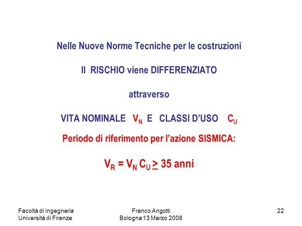 Facoltà di Ingegneria Università di Firenze Franco Angotti Bologna 13 Marzo 2008 22 Nelle Nuove Norme Tecniche per le costruzioni Il RISCHIO viene DIF