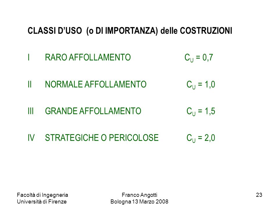 Facoltà di Ingegneria Università di Firenze Franco Angotti Bologna 13 Marzo 2008 23 CLASSI D'USO (o DI IMPORTANZA) delle COSTRUZIONI IRARO AFFOLLAMENT