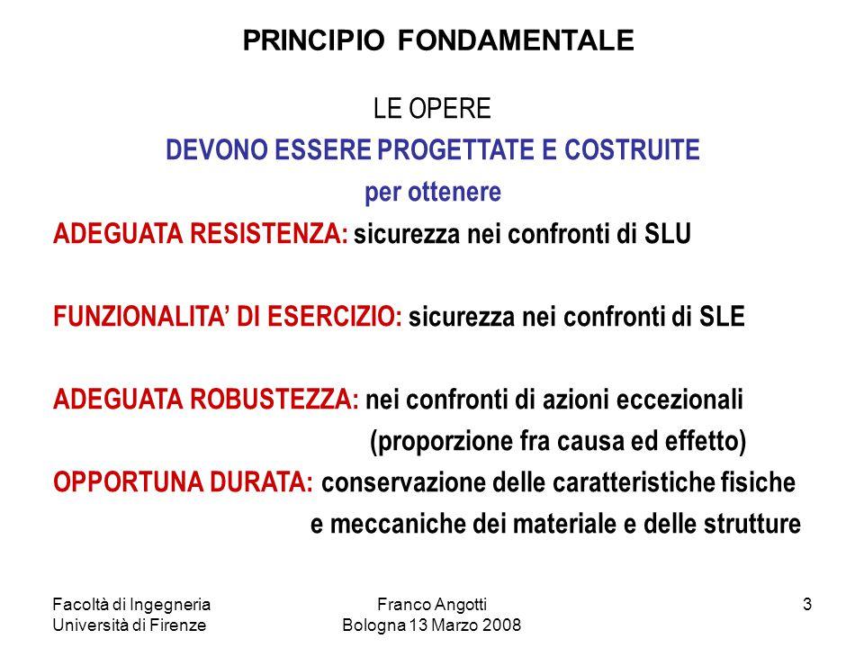 Facoltà di Ingegneria Università di Firenze Franco Angotti Bologna 13 Marzo 2008 4 Misura delle forze Modello strutturale Calcolo strutturale: E d =  Sd E d (  fi,  i, F ki ; a d ) M, N, V, T, ,  w, ecc.