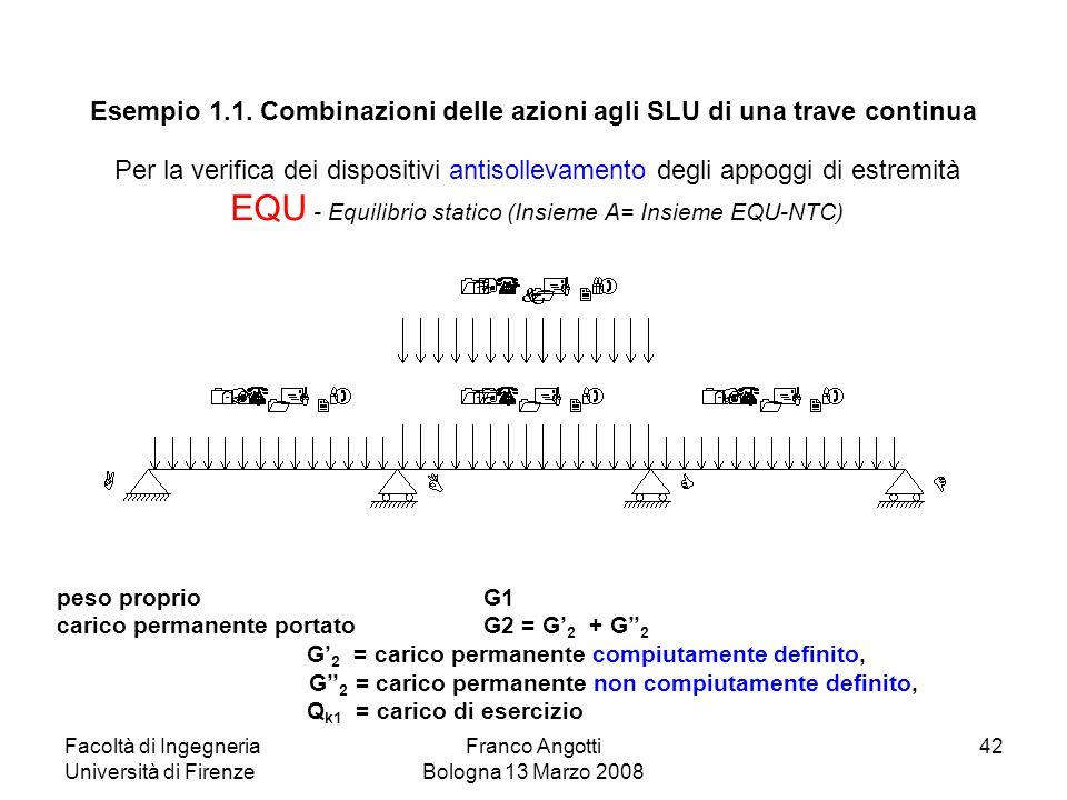 Facoltà di Ingegneria Università di Firenze Franco Angotti Bologna 13 Marzo 2008 42 Per la verifica dei dispositivi antisollevamento degli appoggi di