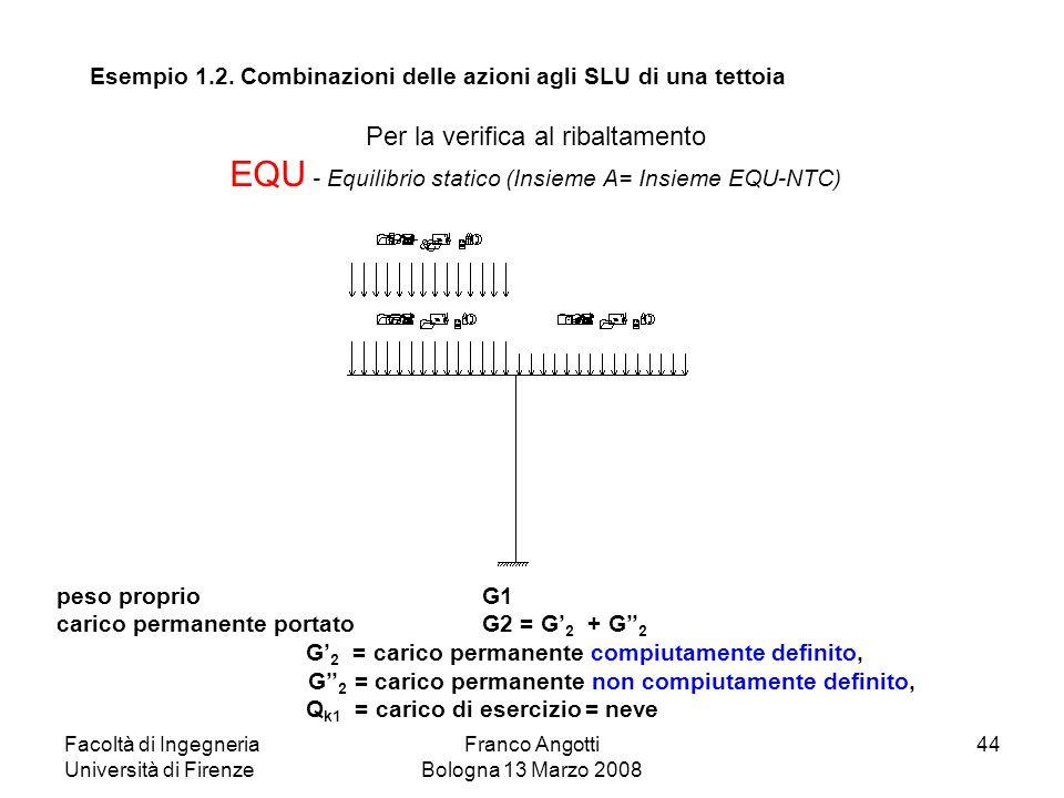 Facoltà di Ingegneria Università di Firenze Franco Angotti Bologna 13 Marzo 2008 44 Per la verifica al ribaltamento EQU - Equilibrio statico (Insieme