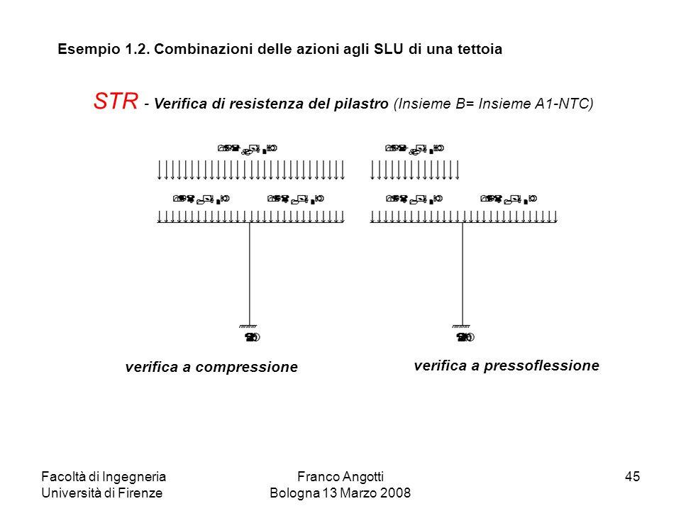 Facoltà di Ingegneria Università di Firenze Franco Angotti Bologna 13 Marzo 2008 45 STR - Verifica di resistenza del pilastro (Insieme B= Insieme A1-N