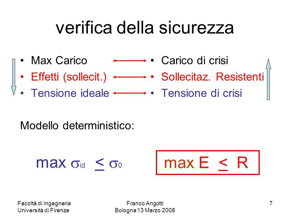 Facoltà di Ingegneria Università di Firenze Franco Angotti Bologna 13 Marzo 2008 7 verifica della sicurezza Max Carico Effetti (sollecit.) Tensione id