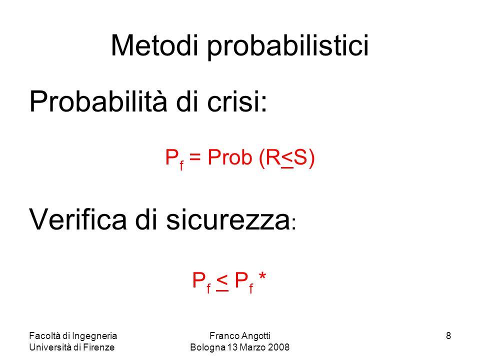Facoltà di Ingegneria Università di Firenze Franco Angotti Bologna 13 Marzo 2008 9 Metodi probabilistici Confronto fra S R: M s = R – S margine di affidabilità Evento favorevole = M s > 0 ovvero E s = R/S fattore di affidabilità Evento favorevole = E s > 1