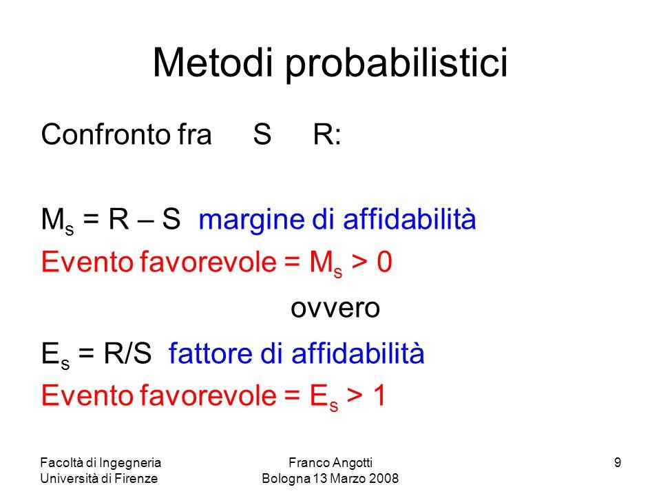 Facoltà di Ingegneria Università di Firenze Franco Angotti Bologna 13 Marzo 2008 20 Classi di conseguenze Classi di affidabilità Indice  (50 anni) CC1 RC1 3,3 (P f ~ 10 -3 ) CC2 RC2 3,8 (P f ~ 10 -4 ) CC3 RC3 4,3 (P f ~ 10 -5 ) I livelli di affidabilità si possono differenziare per tener conto di: cause che portano al raggiungimento di uno stato limite; conseguenze del collasso in termini di rischio per la vita umana, danni alle persone, potenziali perdite economiche, rischi ambientali; spesa e procedure necessarie per ridurre il rischio di collasso.