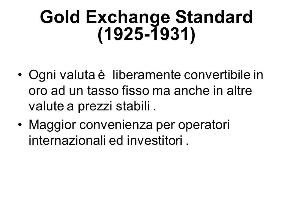 Gold Exchange Standard (1925-1931) Ogni valuta è liberamente convertibile in oro ad un tasso fisso ma anche in altre valute a prezzi stabili. Maggior