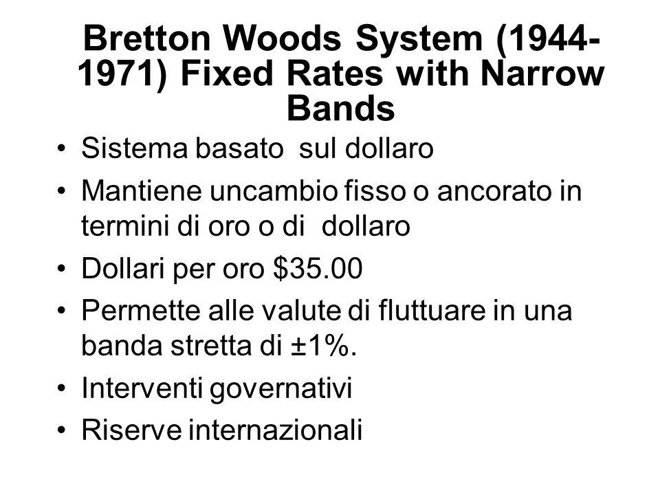 Bretton Woods System (1944- 1971) Fixed Rates with Narrow Bands Sistema basato sul dollaro Mantiene uncambio fisso o ancorato in termini di oro o di d