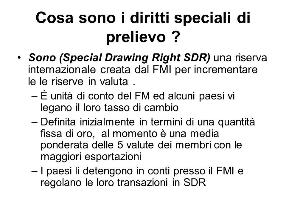 Cosa sono i diritti speciali di prelievo ? Sono (Special Drawing Right SDR) una riserva internazionale creata dal FMI per incrementare le le riserve i