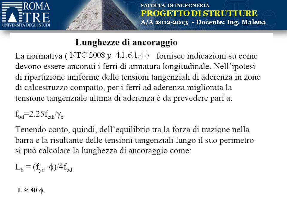 FACOLTA' DI INGEGNERIA PROGETTO DI STRUTTURE A/A 2012-2013 - Docente: Ing. Malena L ≈ 40 .