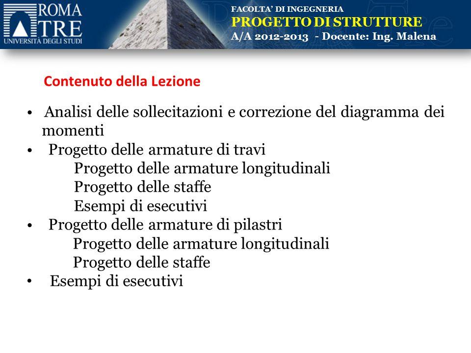 FACOLTA' DI INGEGNERIA PROGETTO DI STRUTTURE A/A 2012-2013 - Docente: Ing. Malena Analisi delle sollecitazioni e correzione del diagramma dei momenti