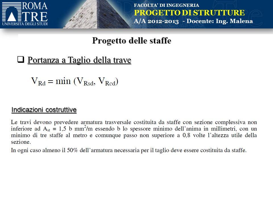 FACOLTA' DI INGEGNERIA PROGETTO DI STRUTTURE A/A 2012-2013 - Docente: Ing. Malena Portanza a Taglio della trave  Portanza a Taglio della trave Indica
