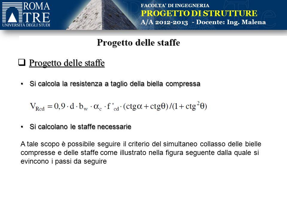 FACOLTA' DI INGEGNERIA PROGETTO DI STRUTTURE A/A 2012-2013 - Docente: Ing. Malena Progetto delle staffe  Progetto delle staffe Si calcola la resisten