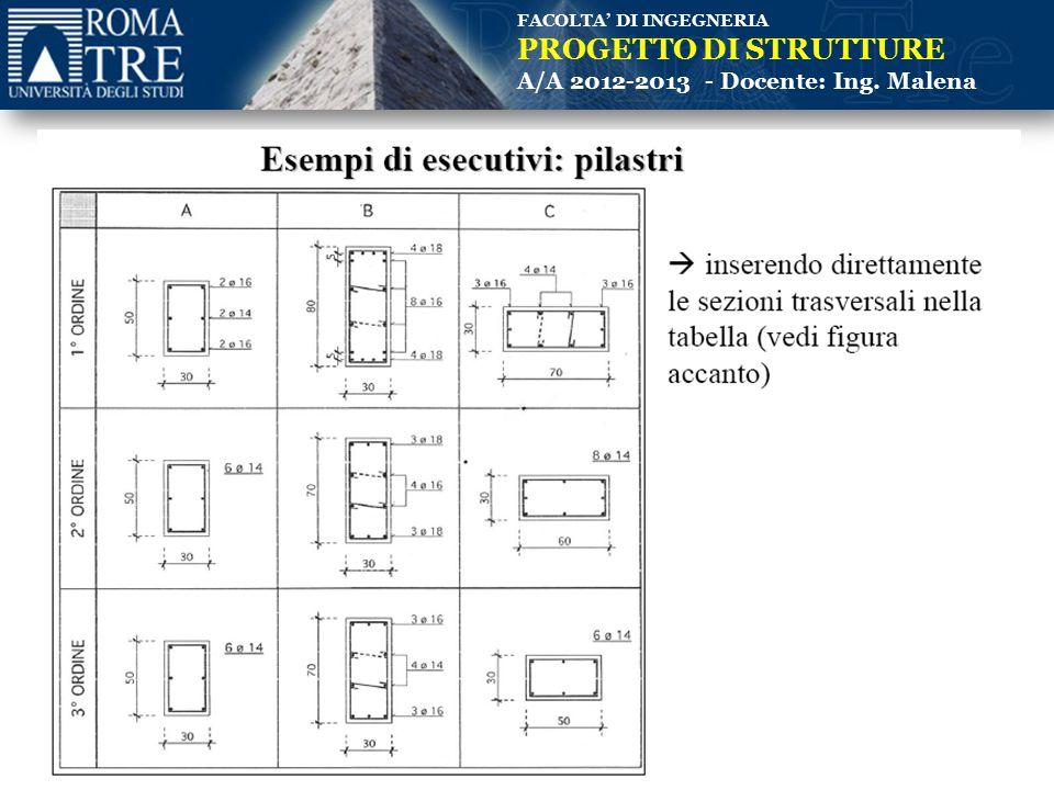 FACOLTA' DI INGEGNERIA PROGETTO DI STRUTTURE A/A 2012-2013 - Docente: Ing. Malena