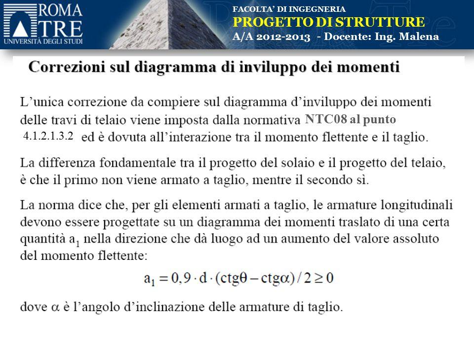 FACOLTA' DI INGEGNERIA PROGETTO DI STRUTTURE A/A 2012-2013 - Docente: Ing. Malena NTC08 al punto 4.1.2.1.3.2