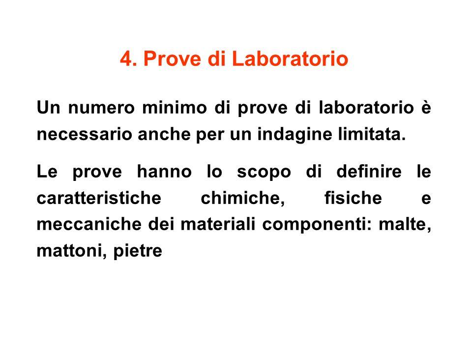 4. Prove di Laboratorio Un numero minimo di prove di laboratorio è necessario anche per un indagine limitata. Le prove hanno lo scopo di definire le c