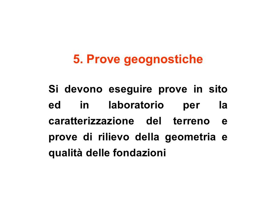 5. Prove geognostiche Si devono eseguire prove in sito ed in laboratorio per la caratterizzazione del terreno e prove di rilievo della geometria e qua