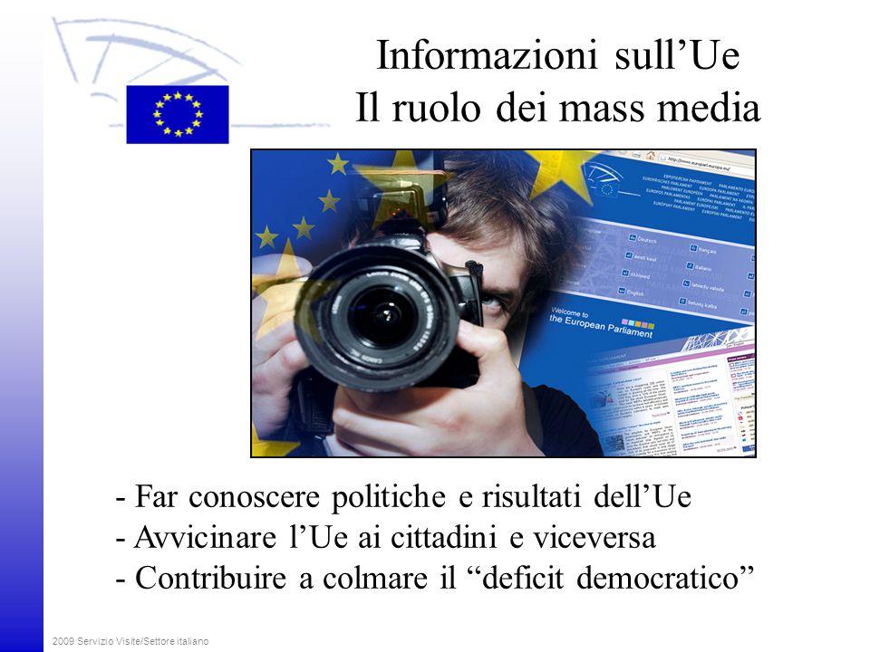 2009 Servizio Visite/Settore italiano Informazioni sull'Ue Il ruolo dei mass media - Far conoscere politiche e risultati dell'Ue - Avvicinare l'Ue ai cittadini e viceversa - Contribuire a colmare il deficit democratico