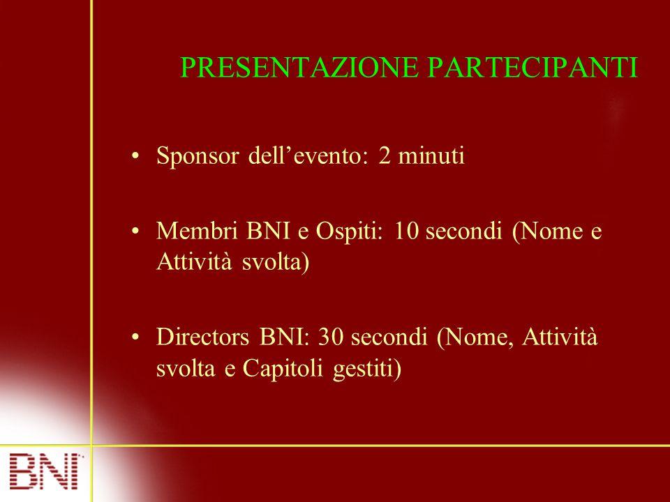 PRESENTAZIONE PARTECIPANTI Sponsor dell'evento: 2 minuti Membri BNI e Ospiti: 10 secondi (Nome e Attività svolta) Directors BNI: 30 secondi (Nome, Attività svolta e Capitoli gestiti)