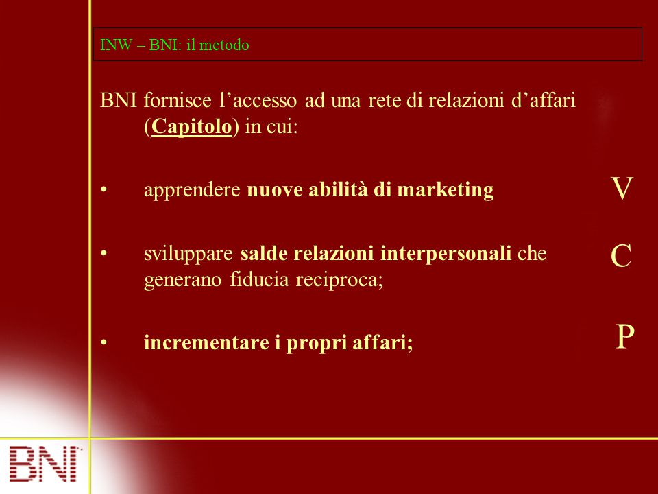INW – BNI: il metodo BNI fornisce l'accesso ad una rete di relazioni d'affari (Capitolo) in cui: apprendere nuove abilità di marketing sviluppare salde relazioni interpersonali che generano fiducia reciproca; incrementare i propri affari; V C P