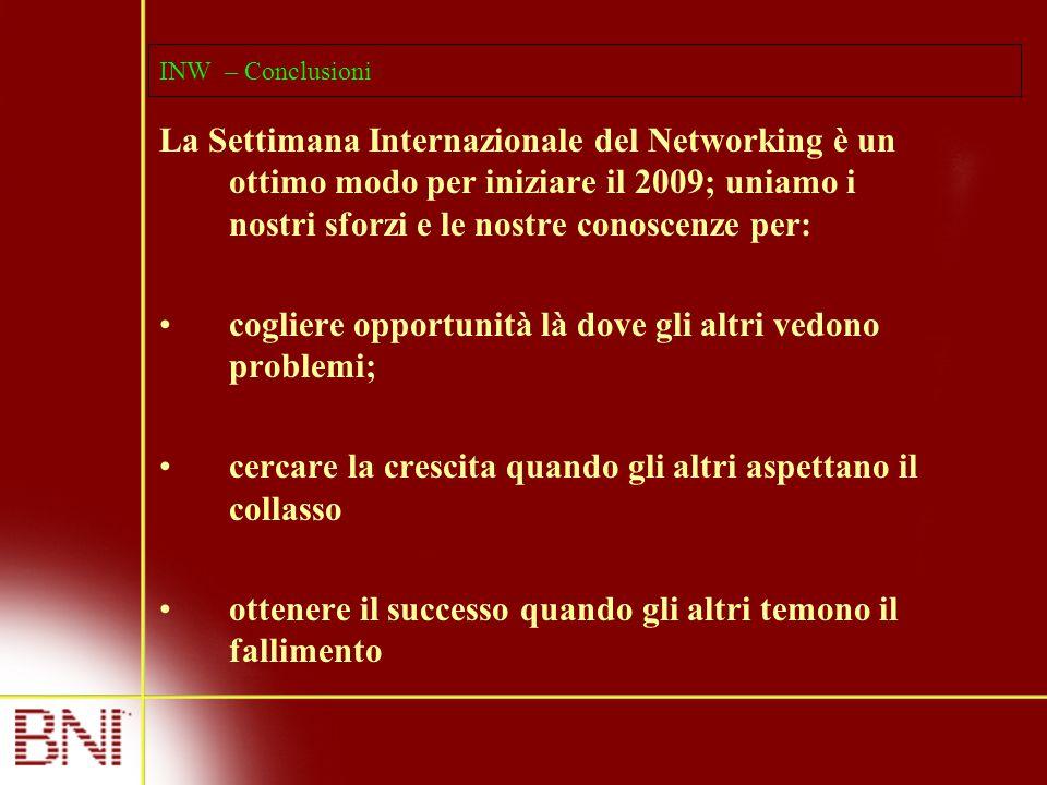 INW – Conclusioni La Settimana Internazionale del Networking è un ottimo modo per iniziare il 2009; uniamo i nostri sforzi e le nostre conoscenze per: cogliere opportunità là dove gli altri vedono problemi; cercare la crescita quando gli altri aspettano il collasso ottenere il successo quando gli altri temono il fallimento