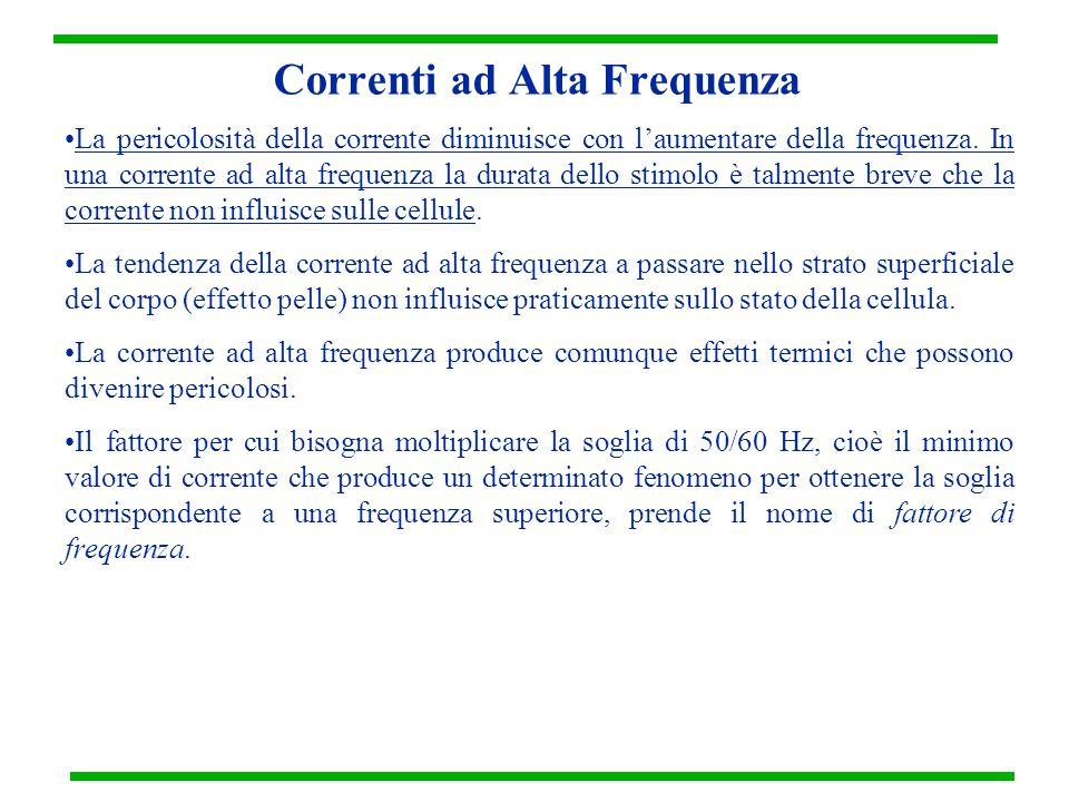 Correnti ad Alta Frequenza La pericolosità della corrente diminuisce con l'aumentare della frequenza. In una corrente ad alta frequenza la durata dell