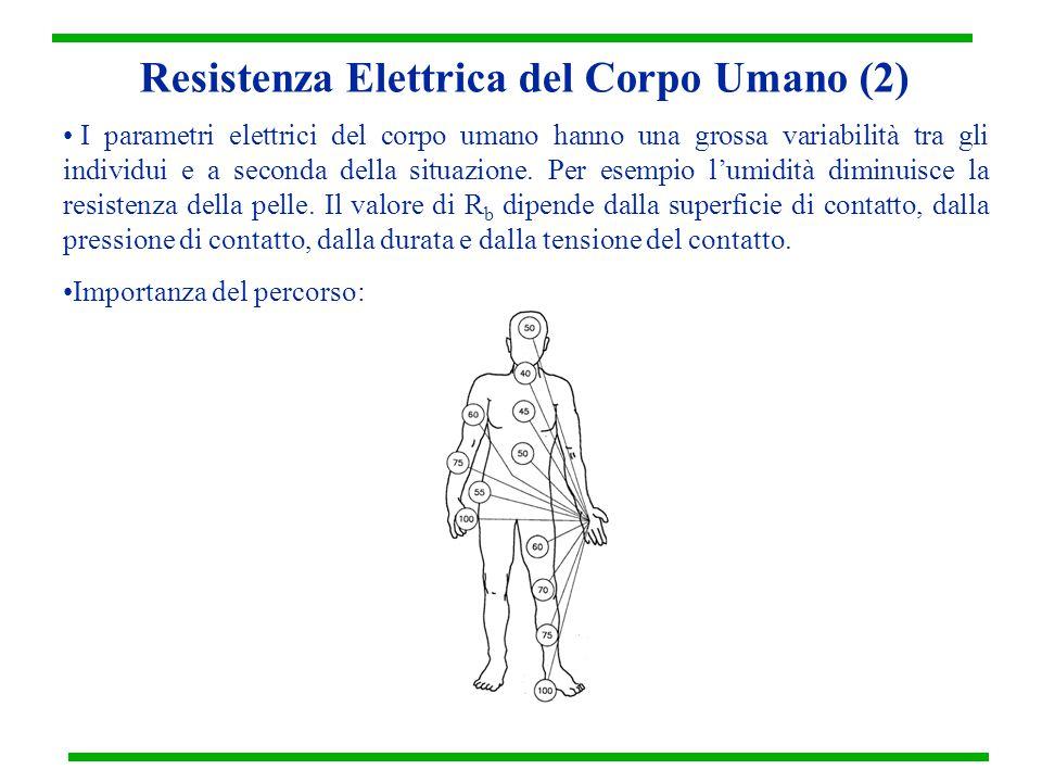 Resistenza Elettrica del Corpo Umano (2) I parametri elettrici del corpo umano hanno una grossa variabilità tra gli individui e a seconda della situaz