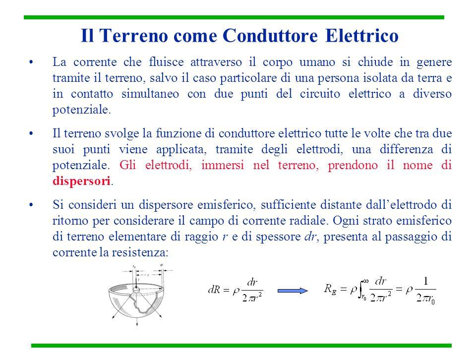 Il Terreno come Conduttore Elettrico La corrente che fluisce attraverso il corpo umano si chiude in genere tramite il terreno, salvo il caso particola
