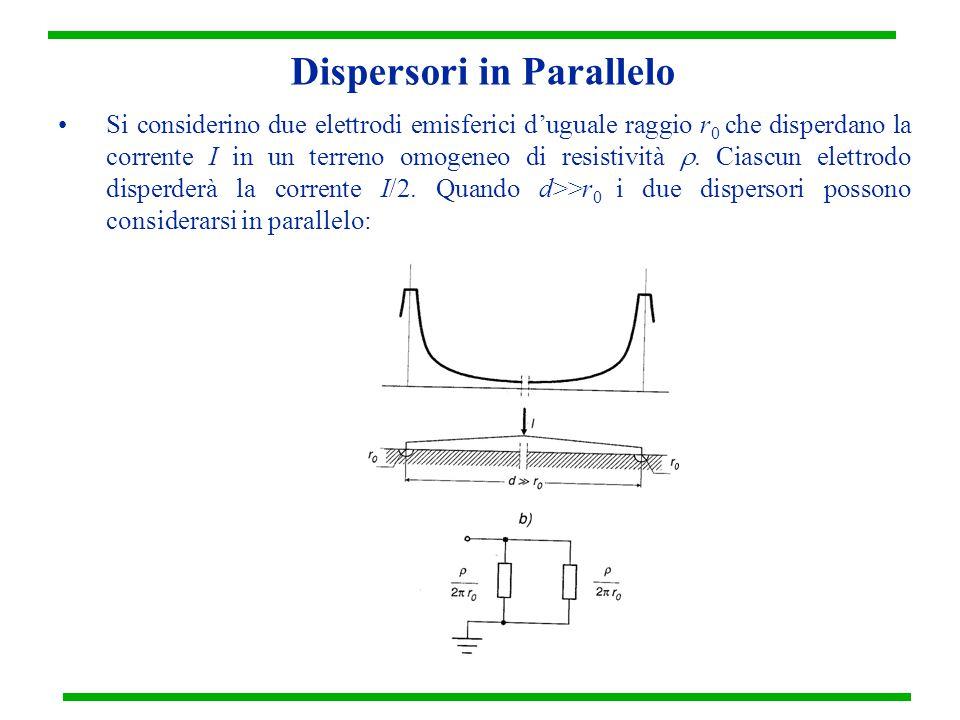 Dispersori in Parallelo Si considerino due elettrodi emisferici d'uguale raggio r 0 che disperdano la corrente I in un terreno omogeneo di resistività