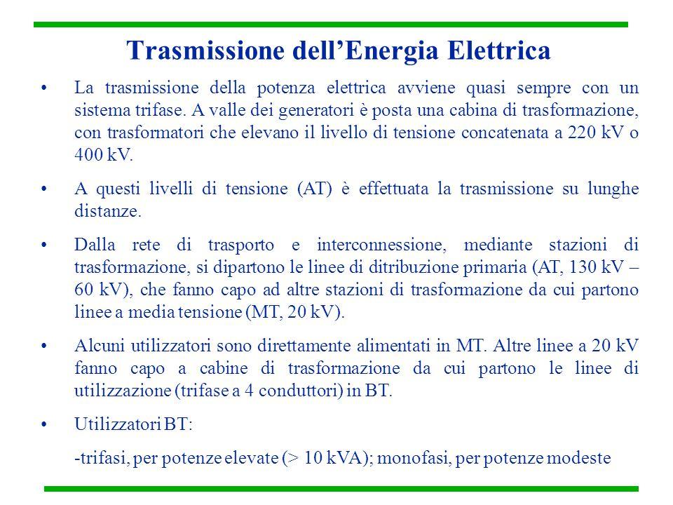 Trasmissione dell'Energia Elettrica La trasmissione della potenza elettrica avviene quasi sempre con un sistema trifase. A valle dei generatori è post