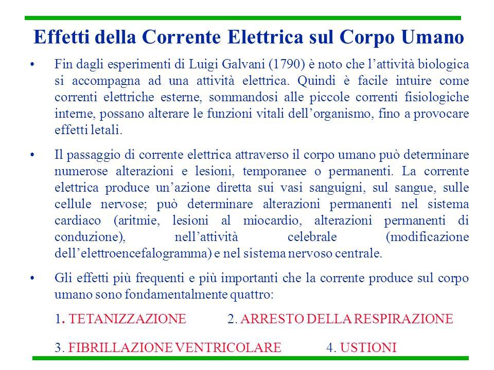 Effetti della Corrente Elettrica sul Corpo Umano Fin dagli esperimenti di Luigi Galvani (1790) è noto che l'attività biologica si accompagna ad una at