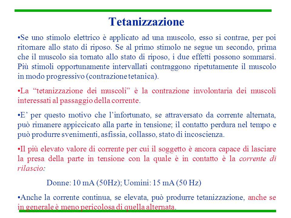 Tetanizzazione Se uno stimolo elettrico è applicato ad una muscolo, esso si contrae, per poi ritornare allo stato di riposo. Se al primo stimolo ne se