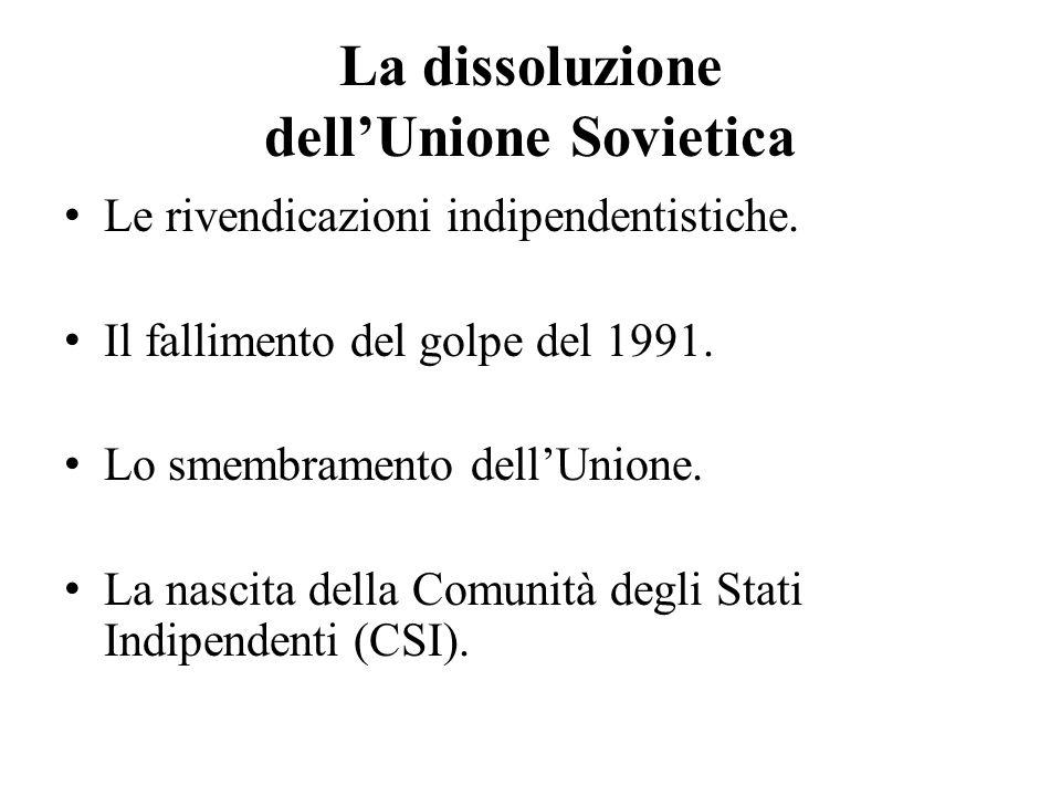 La dissoluzione dell'Unione Sovietica Le rivendicazioni indipendentistiche. Il fallimento del golpe del 1991. Lo smembramento dell'Unione. La nascita