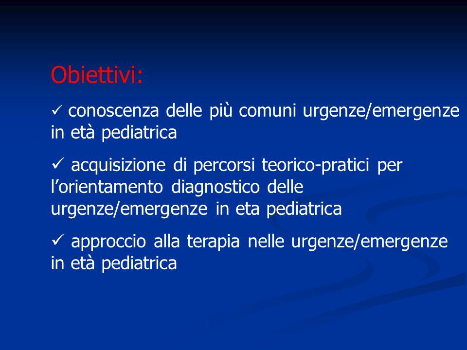 Obiettivi: conoscenza delle più comuni urgenze/emergenze in età pediatrica acquisizione di percorsi teorico-pratici per l'orientamento diagnostico del