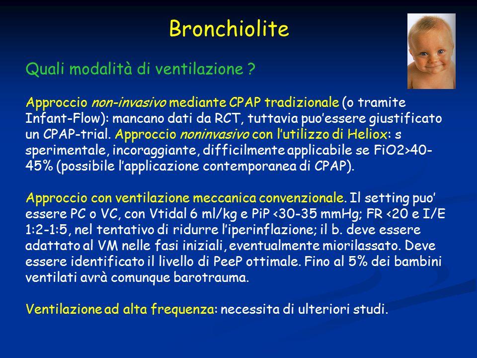 Quali modalità di ventilazione ? Approccio non-invasivo mediante CPAP tradizionale (o tramite Infant-Flow): mancano dati da RCT, tuttavia puo'essere g
