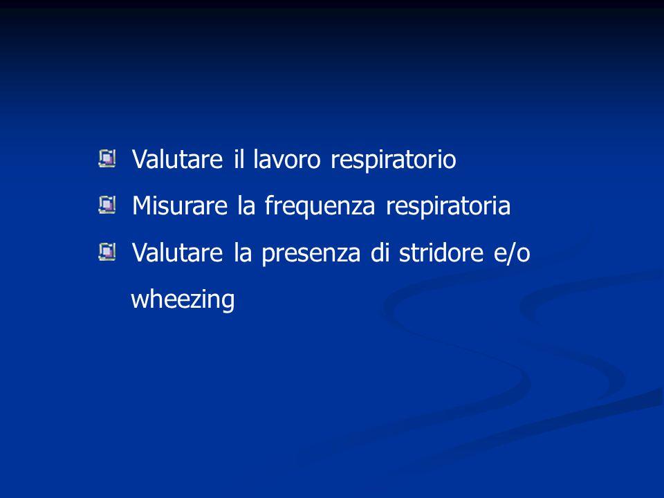 Valutare il lavoro respiratorio Misurare la frequenza respiratoria Valutare la presenza di stridore e/o wheezing