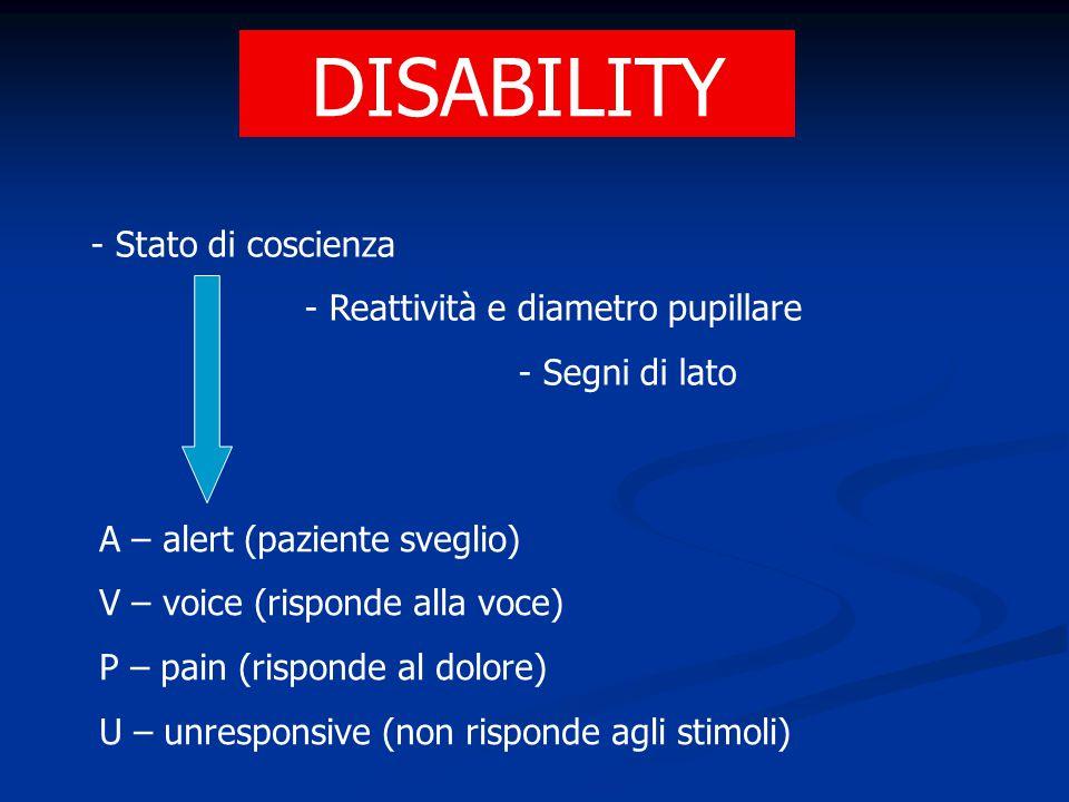 DISABILITY - Stato di coscienza - Reattività e diametro pupillare - Segni di lato A – alert (paziente sveglio) V – voice (risponde alla voce) P – pain