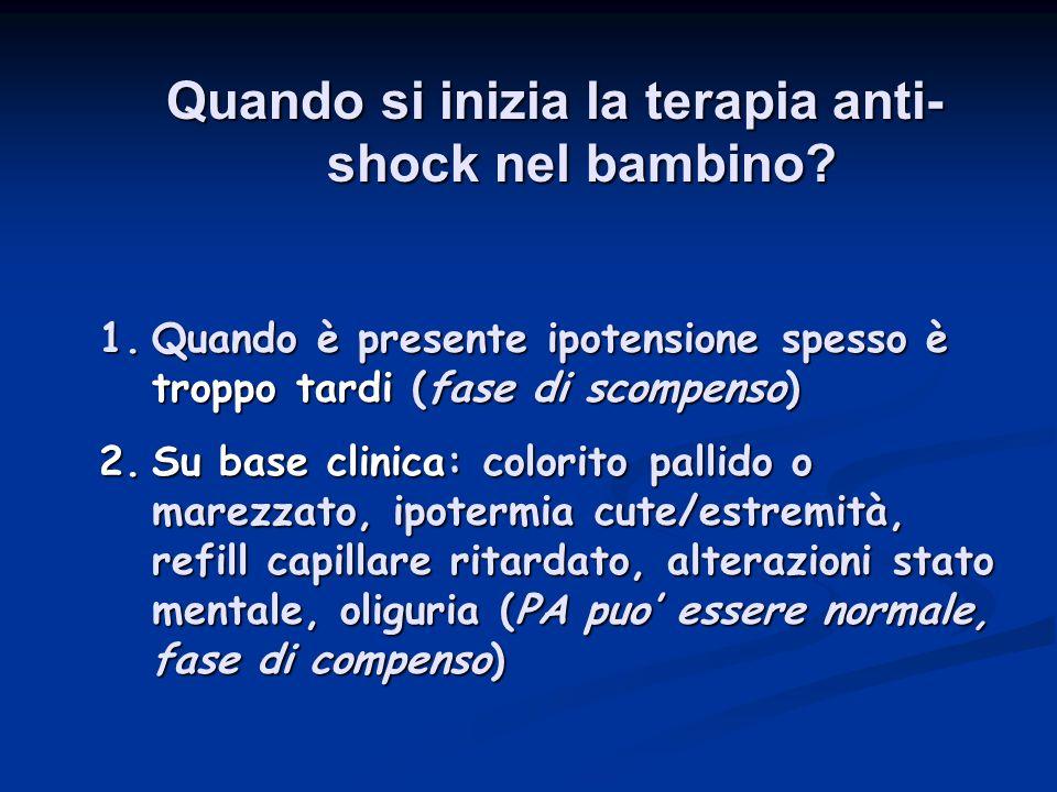 Quando si inizia la terapia anti- shock nel bambino? 1.Quando è presente ipotensione spesso è troppo tardi (fase di scompenso) 2.Su base clinica: colo