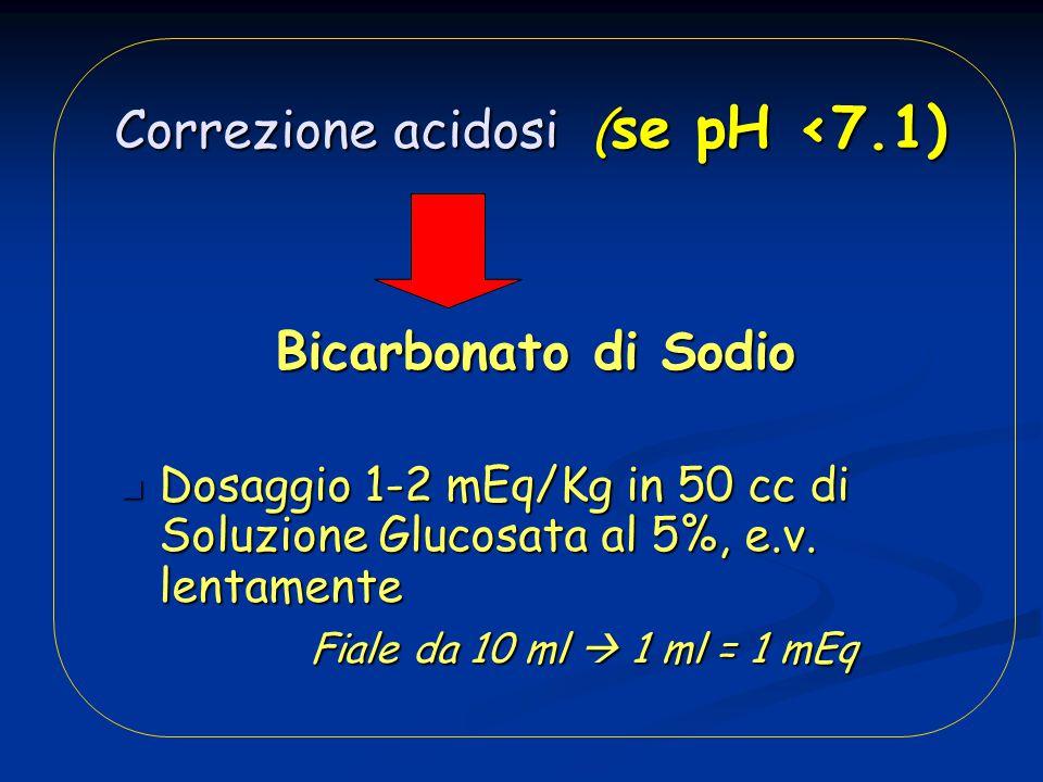 Correzione acidosi ( se pH <7.1) Correzione acidosi ( se pH <7.1) Bicarbonato di Sodio Bicarbonato di Sodio Dosaggio 1-2 mEq/Kg in 50 cc di Soluzione